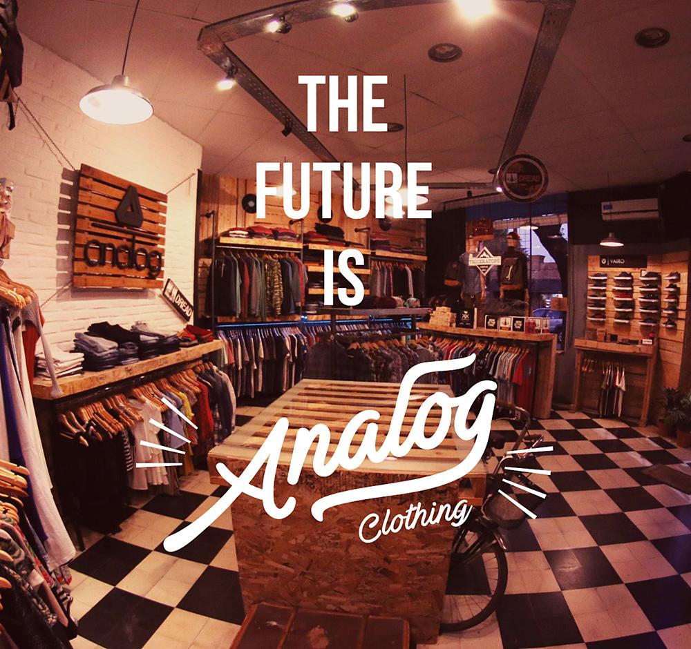 Identidad comercial para «Analog Clothes»