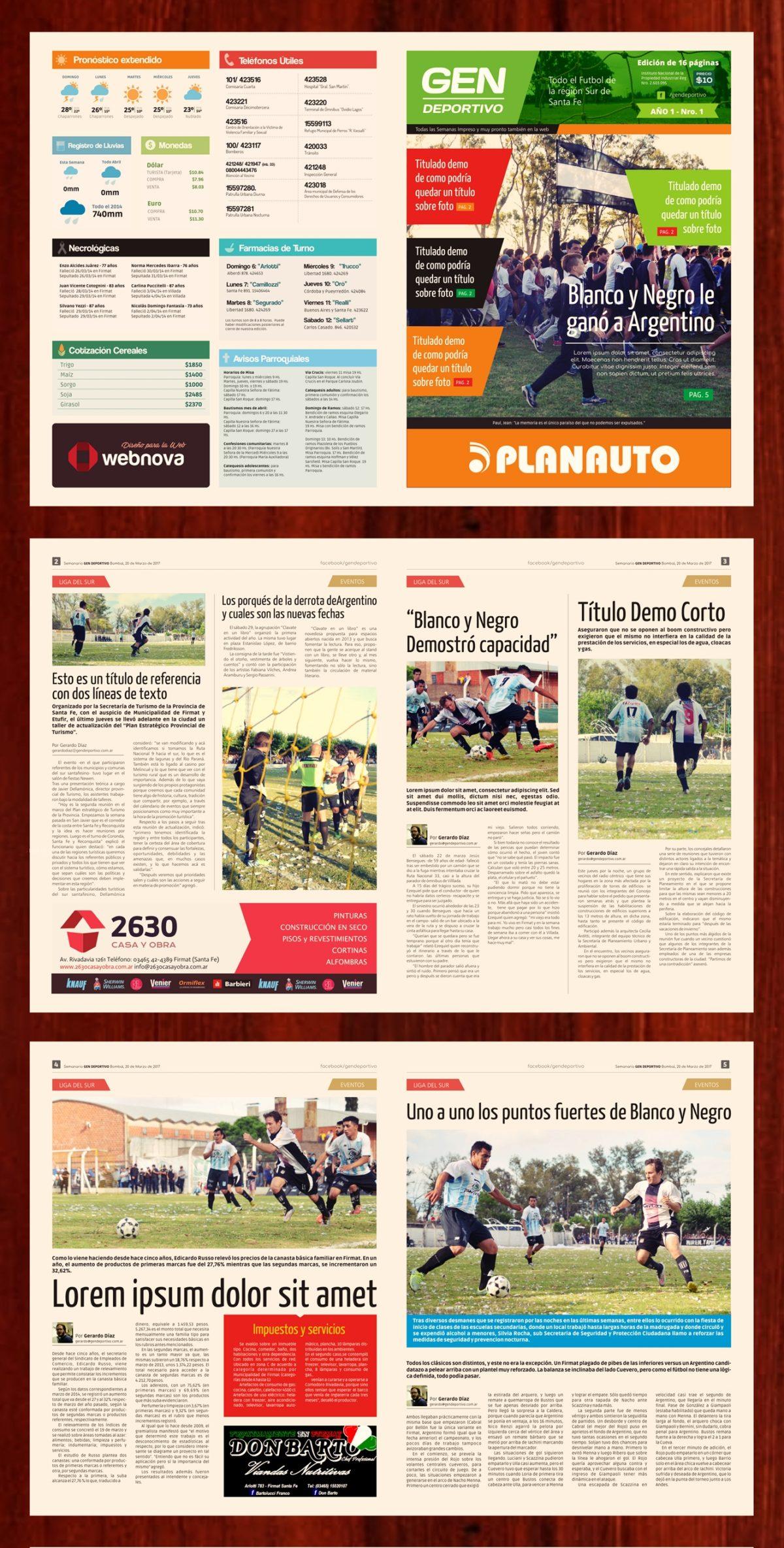 Diario Gráfico Impreso «Gen Deportivo»