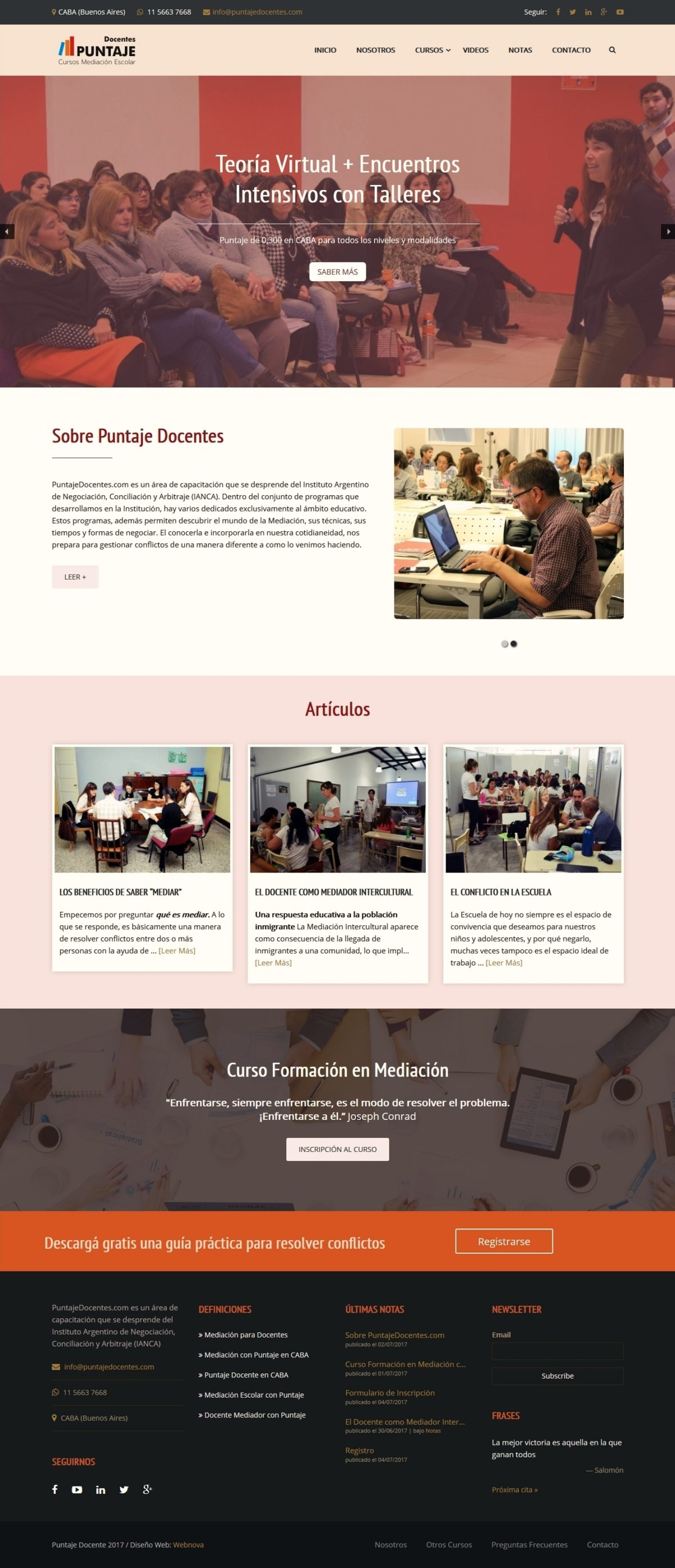 Diseño Web a medida «PuntajeDocentes.com»