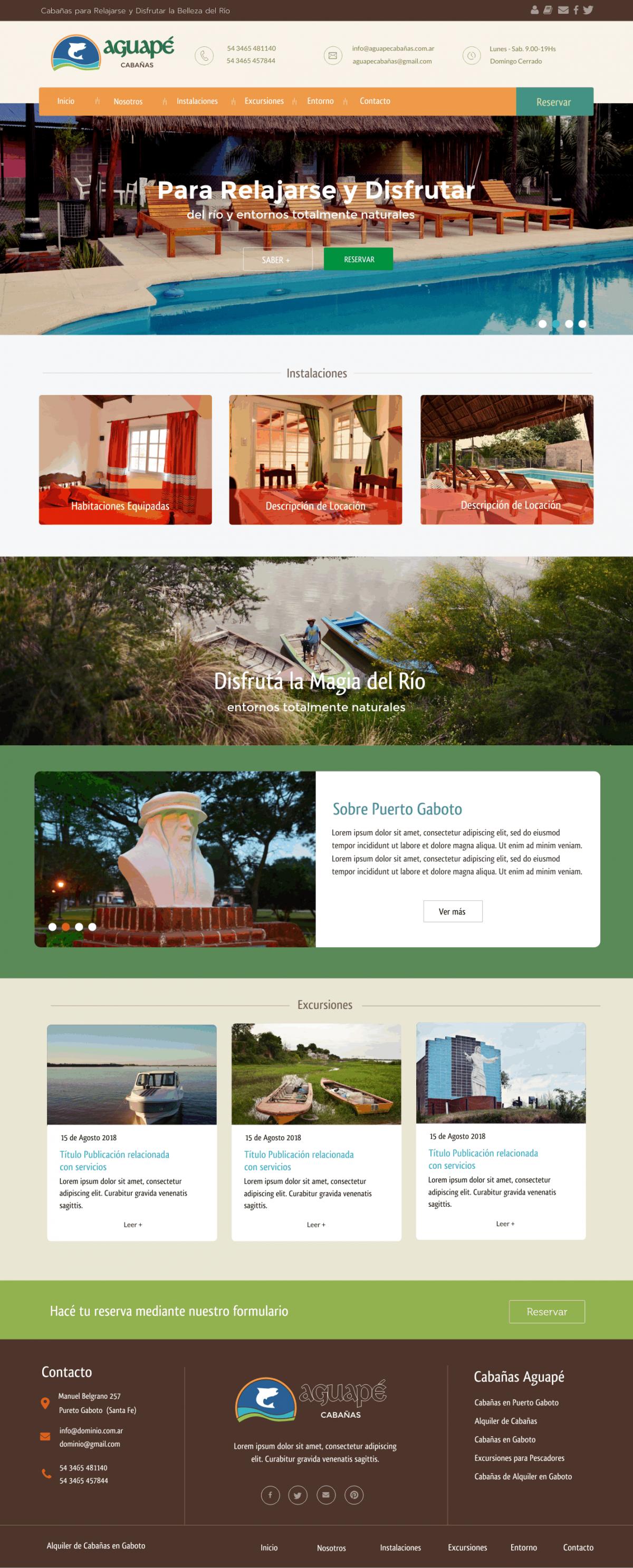 Diseño Web a Medida «Cabañas AGUAPÉ»