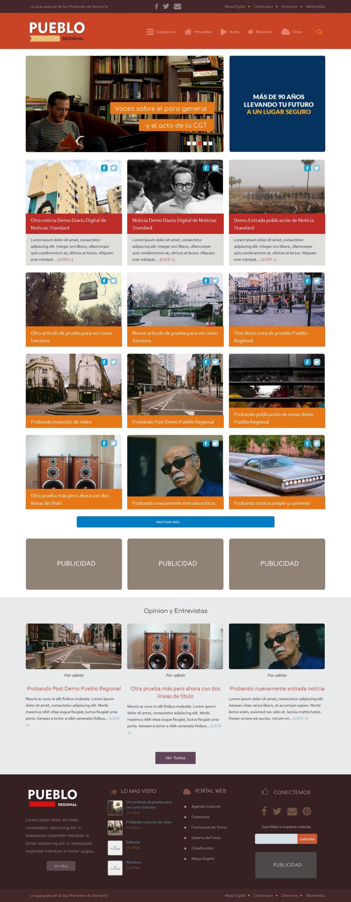"""Diseño Web Diario """"PUEBLO REGIONAL"""""""