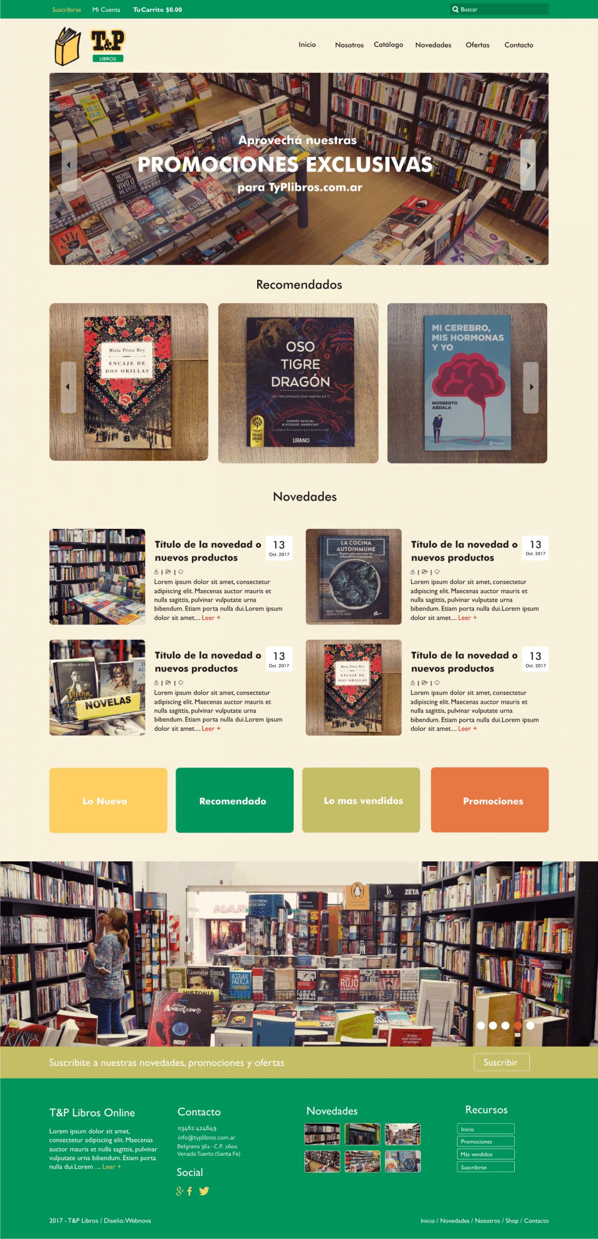 Diseño Web a Medida y Shop «TyP Libros»