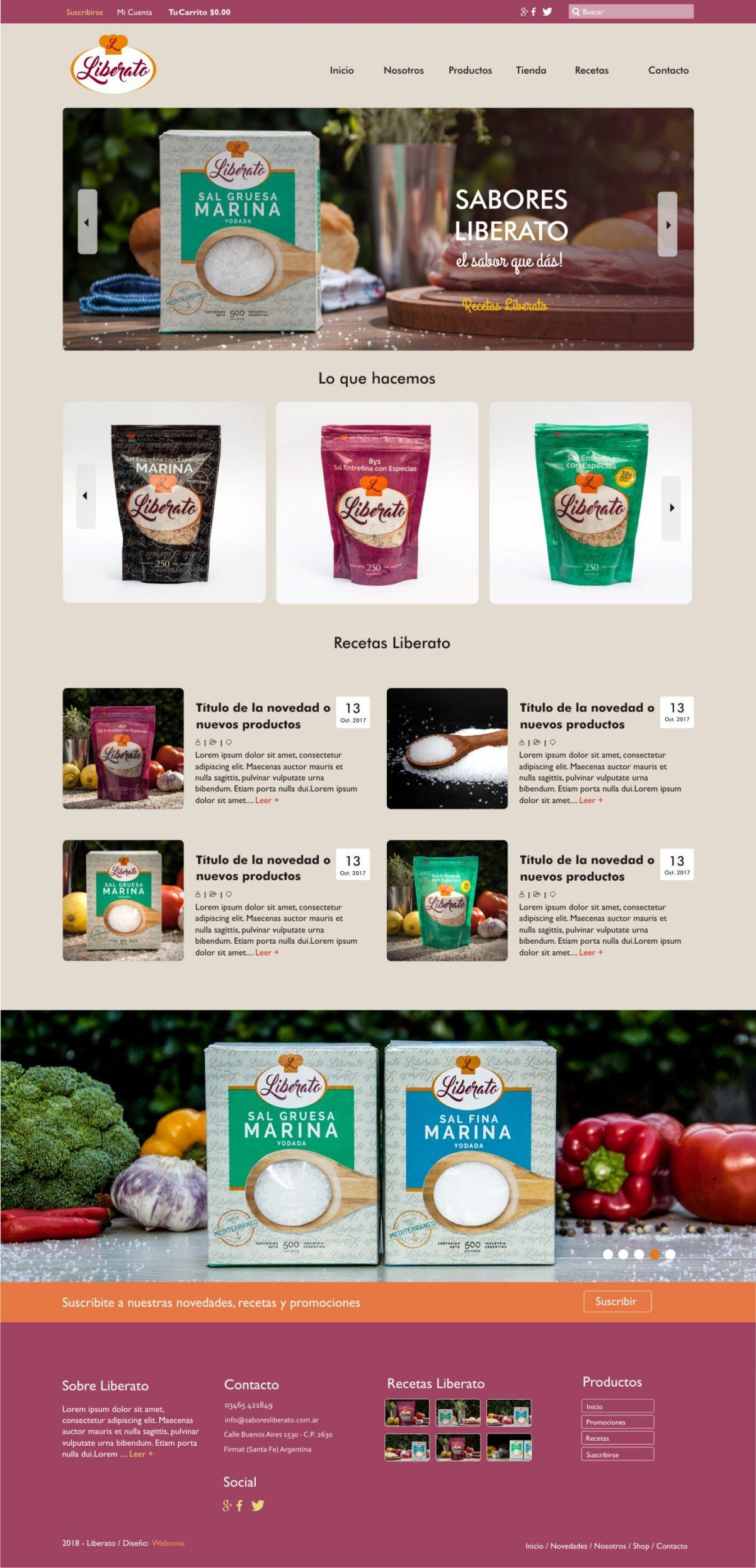 Diseño Web «Sabores Liberato»